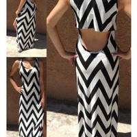 Black & White Chevron Maxi Dress with Cutout Back