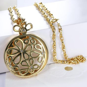 Great Design! Hollow Flower Necklace Cute Style Fashion jewelry Pendant Reading Glass 2x Magnifying Women Trendy necklace