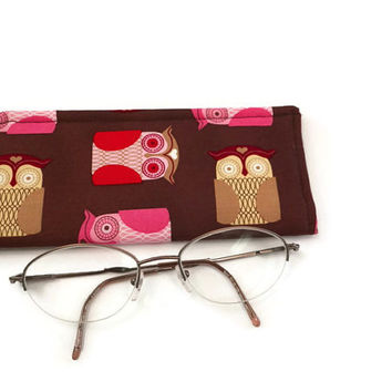 Eyeglass or Sunglass Case Owls on Brown or Pink Folk Owl Protective Padded Pouch Choose your Size and Color