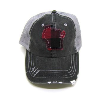 Wisconsin Trucker Hat - Distressed - Red Buffalo Check State Cutout