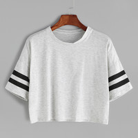 Grey Dropped Shoulder Seam Varsity Striped Crop T-shirt -SheIn(Sheinside)