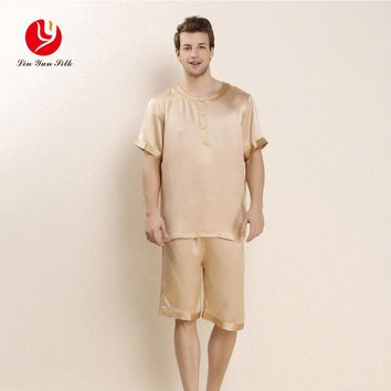 LIN YUN Men Silk Pajama Sets 2017 Summer Sleepwear Casual Real Silk Nightgown Set Men's Sleep Lounge Solid Short Sleeve Pajamas