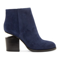 Blue Suede Notched Heel Gabi Ankle Boots