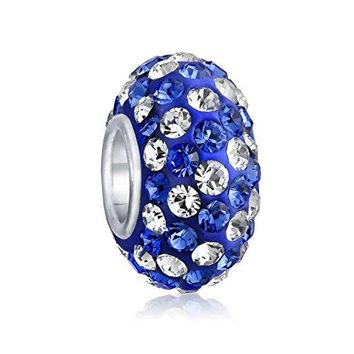925 Silver Crystal Blue Stripe Bead Charm