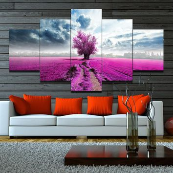 High Quality Hand Painted Purple Tree Oil Painting Artwork Lavender Sea 5 Pcs Canvas Wall Art Sets Modern Abstract Picture