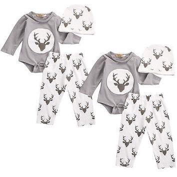 New born Baby Boys Girls Clothes Deer Tops Romper+Long Pants Hat Outfit Set