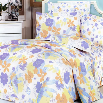 Purple Orange Flowers 100% Cotton 5PC Comforter Set in King Size