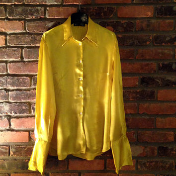 DOLCE & GABBANA Vintage 1990s Electric Yellow Silk Shirt - Large Bell/French Sleeve Cuffs - Button Down Women's 46