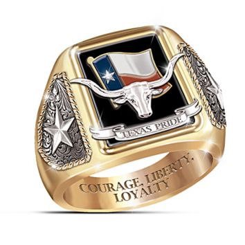 "Texas Longhorns  ""Texas Pride"" Men's Diamond and Black Onyx Hand-Enameled Ring"