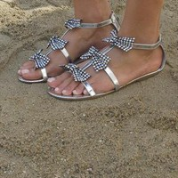 Silver sandal with bow and gems ( Ciara) from Chockers Shoes