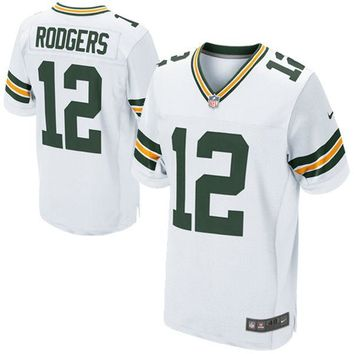 Mens Green Bay Packers Aaron Rodgers Nike White Elite Jersey