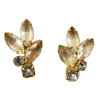 Marquise Leaf Earrings Vintage Gold Tone Frosted Rhinestone Clip On e455