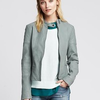 Banana Republic Womens Quilted Blue Leather Moto Jacket