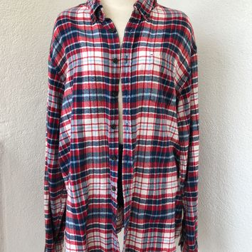 LANDS SEND OVERSIZE VINTAGE FLANNEL- RED/NAVY/WHT