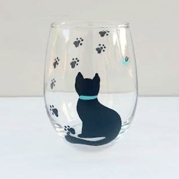 Cat Handpainted Stemless Wine Glass From Crystals Glass Designs