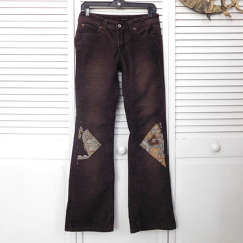 Brown Corduroy Pants Tapestry Patches Size 0 Hip Hugger Low Rise Upcycled Boho Clothes American Hippie Cowgirl Glam Bohemian Clothes