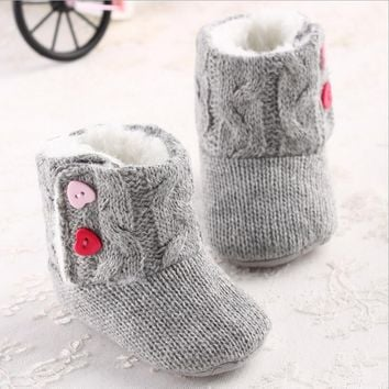 Infant Baby Girls Cotton Knit Soft Winter Warm Snow Boots Heart Button Crib Shoes 0