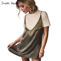 Simplee Apparel sexy v neck satin slip summer dress Sleepwear style evening party short dress women Fashion halter club dresses