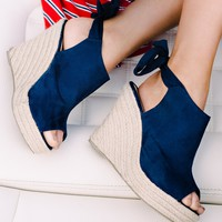 Sanjay Faux Suede Wedges (Navy)