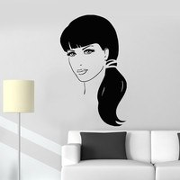 Wall Stickers Vinyl Decal Beautiful Girl Long Hair Beauty Salon Unique Gift (ig457)