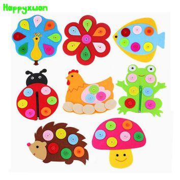 5pcs/lot Zipper Button Learning Felt Fabric Material Teaching Aids Kindergarten Preschool Montessori Educational Toys 3-6 years