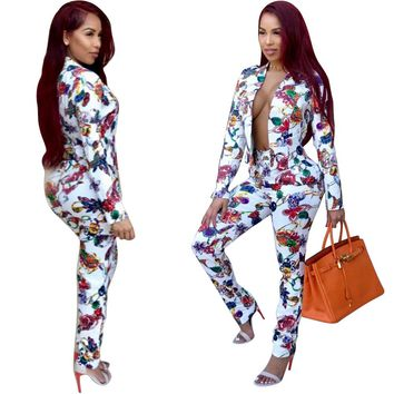 Floral White Blazer and Pants