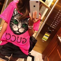 """Gucci"" Women Fashion Hollow Net Cat Head Beaded Letter Short Sleeve Perspective Grid T-shirt Top Tee"