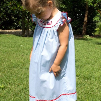 Fireworks   Pool Party Ready Blue Smocked Toddler Angel Wing Dre e93075d239