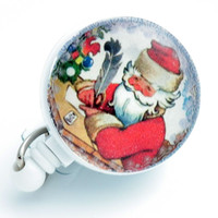 Christmas Santa Writing Letter Badge Reel Retractable ID Badge Holder -Belt Clip