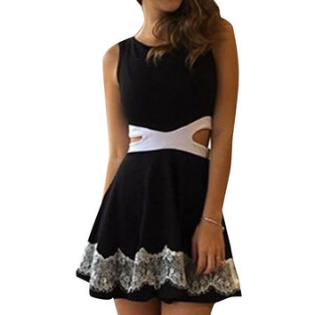 Mini Dress 2016 Summer Women Casual Sexy Sleeveless Sheath Hollow Dress Empire O-Neck White And Black Short A-Line Dresses