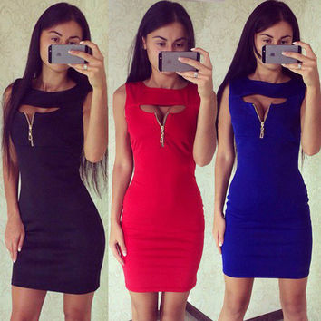 2016 New Brand Summer Dress Women Fashion V-neck Slim Dresses Casual Lady Sexy Sleeveless Zippers Bodycon Dress Mini Vestidos