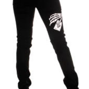 Black Stretch Skeleton Hand & Card Skinny Jeans-Emo, Glam Rock Skinny Jeans by 3rd and 56th Street