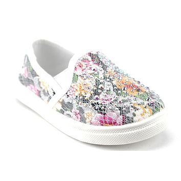 Girls FHX-08I Crystal Bling Slip On Floral Lace Canvas Shoes