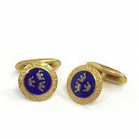 Sporrong & Co. Gold Royal Blue Guilloche Enamel Cuff Links, Three Swedish Crowns, Embossed Gold, Weddings, Classic Vintage Men's Jewelry