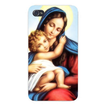 Apple Iphone Custom Case 4 4s Plastic Snap on - St. Mary Mother w/ Baby Jesus Christ