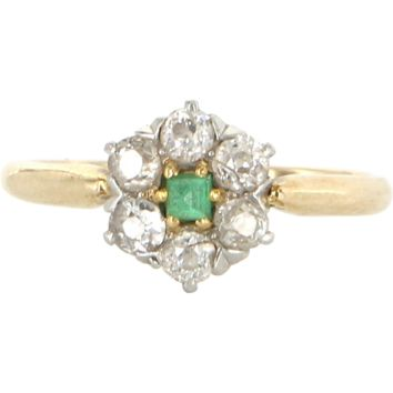 Vintage Art Deco Emerald Mine Cut Diamond Daisy Ring 18 Karat Gold 900 Platinum Vintage 5