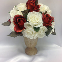 Christmas Table Decor, Red White roses Floral arrangemnet, Gift for Hostess, Romantic Gift, Gift for mom, Wedding Centerpiece decor,