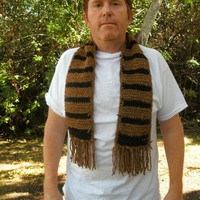 Handmade crocheted men's suede scarf and by CanadianCraftCritter