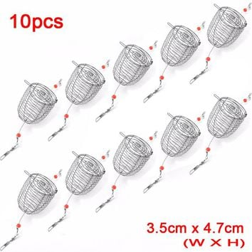 10pcs/Lot 3.5cm x 4.7cm Stainless Steel Wire Fishing Lure Cage Small Bait Basket Feeder Holder Fishing Trap Tackle Accessories