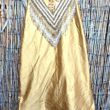 Calypso St. Barth Gold Silk Dupioni Dress