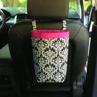 Car Trash Bag DAMASK Black and White Women Men Car by GreenGoose