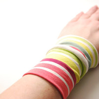 MULTI-COLORED Striped Wrist Cuff Fashion accessory Women Teens Wrist Tattoo Cover