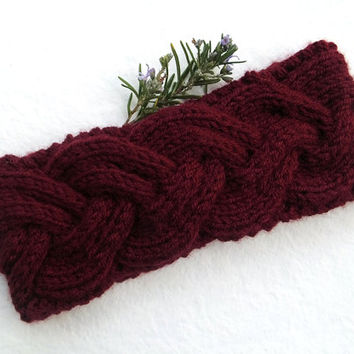Women Knitted Headband in Dark Burgundy,Handmade Headband,Turban,Women Warm Head Wrap,Winter Hair Band,Knit Women Accessory,FREE SHIPPING