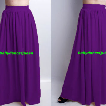 Handmade Purple Bridesmaid Skirts, Women Skirts, Maxi Skirt, Long Maxi Skirts, Pleated Skirts, Chiffon Maxi Skirts, Floor Length Skirts