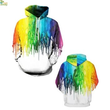 Rainbow Paint Drops Sweatshirts Harajuku White Loose Womens Skateboarding Hoodies Autumn Hooded Jacket Winter Outerwear Pullover