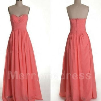 Beads Coral Sweetheart Strapless Long Empired Celebrity Dress, Floor length Chiffon Formal Evening Party Prom Dress New Homecoming Dress