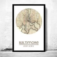 BALTIMORE - city poster - city map poster print