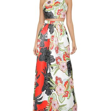 Colorful Floral Print Two-Piece Maxi Dress