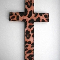 ANIMAL PRINT (CHEETAH) Wall Cross - handpainted wood cross w/ cheetah eco felt