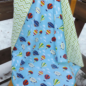 Balloons and Blimps Flannel Receiving or Swaddling Blanket, Double Layer, 2 Layer Serged Blanket, New Design, Crib or Stroller Blanket